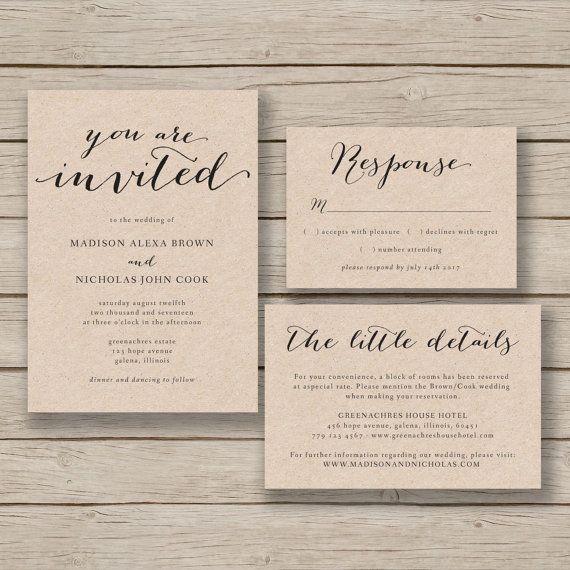 printable wedding invitation template rustic invitation suite diy invite editable by you in word - Wedding Invitation Templates Word