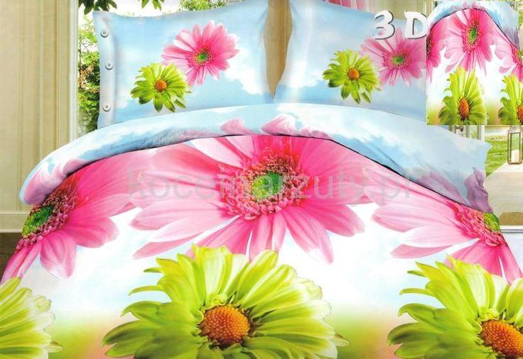 Kolorowe kwiaty modna biała pościel
