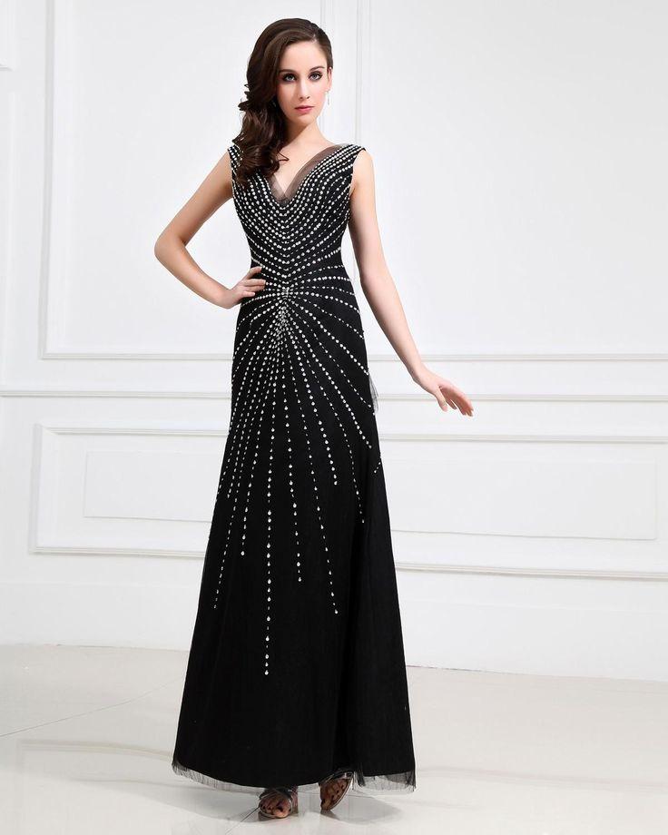 Junoesque Tulle V-Neck Floor Length Sheath Women's Evening Dress