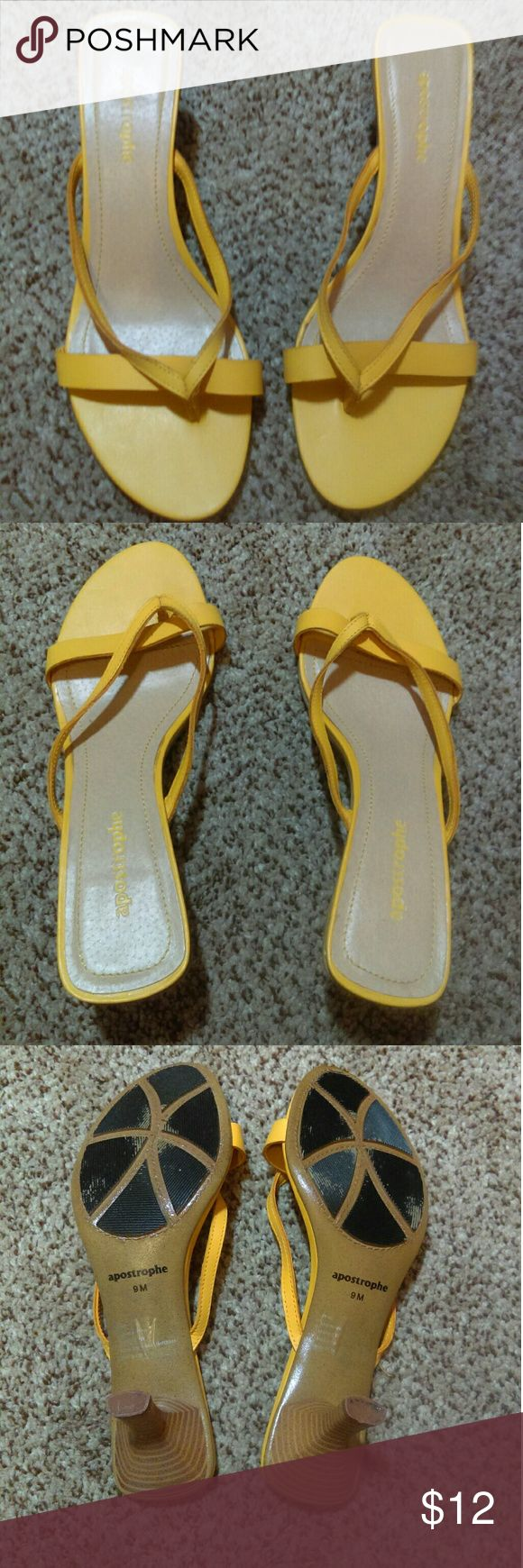 Women's yellow strappy heels Adorable women's size 9 yellow strappy heels from Apstrophe. Slightly worn, the tops look practically brand new! Apostrophe Shoes Heels