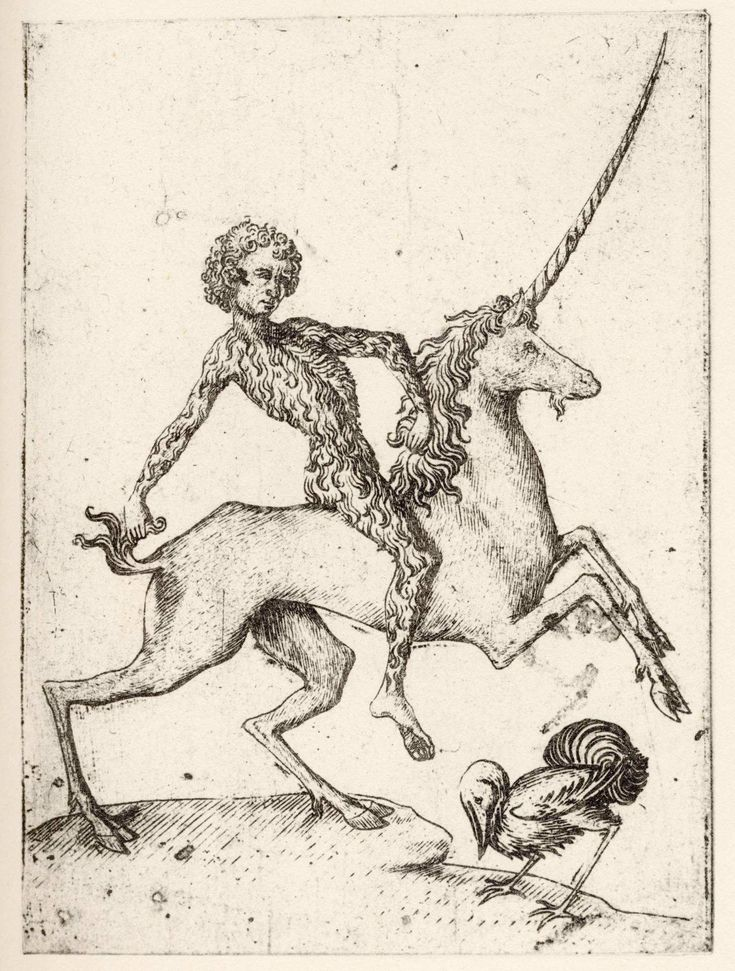 Wild Man of the Wood riding a unicorn appears to be an image from a playing card, or tarot card from Germany around the middle of the 15th Century.