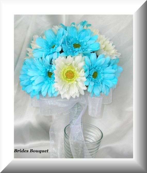 Turquoise Aqua Pool Ice Blue Silk Gerbera Daisy Bridal Bouquet and Complete Wedding Flower Package 15 Piece Set