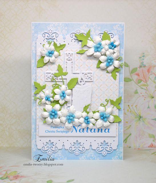 Emilia tworzy: Kartka na chrzest z krzyżem i świecą/Chrzest Święty/Pamiątka Chrztu Świętego/Christening card