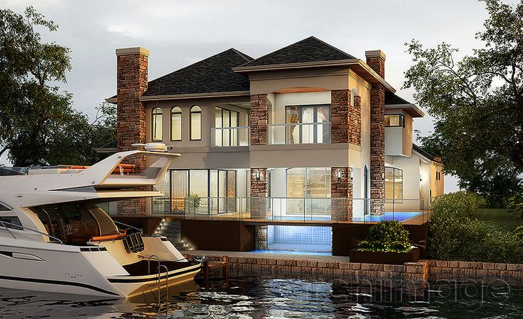 Architectural Render of a canal house design with glass pool wall. House designed by Boyd Design Perth