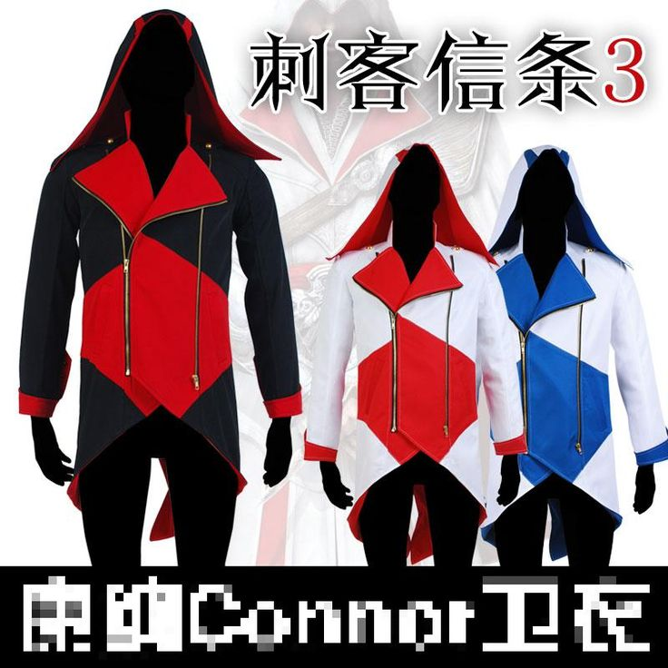 Gratis verzending gloednieuwe cosplay kostuum anime assassin's creed 3 connor hooded trui jas jas spot alledaagse kleding cospla(China (Mainland))