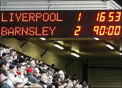 Championship side Barnsley knocking out Liverpool in the FA Cup in 2008