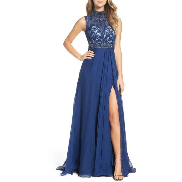 Women's Mac Duggal Beaded Lace & Chiffon Gown ($458) ❤ liked on Polyvore featuring dresses, gowns, sapphire, lace evening dresses, blue lace dress, beaded gown, lace dress and blue chiffon dress