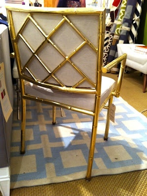 Vintage, faux bamboo, and brass chair