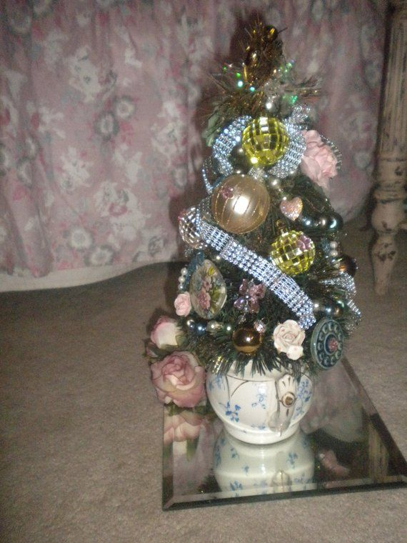 Reduced Bottle Brush Christmas Tree Decorated Christmas Etsy Bottle Brush Trees Bottle Brush Christmas Trees Shabby Chic Sale