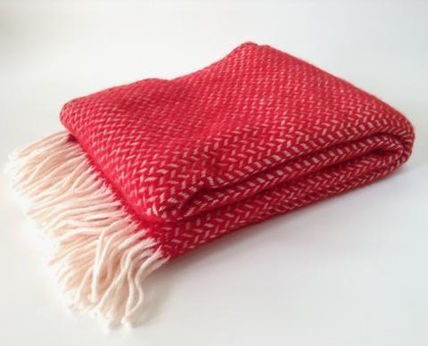 Klippan Lambs Wool Blanket - Polka Red.  * * NZ WOOL * *