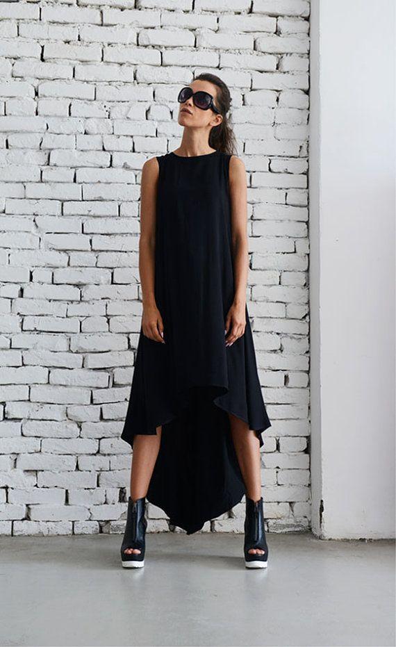 NEW Black Asymmetric Dress/Oversize Loose by Metamorphoza on Etsy