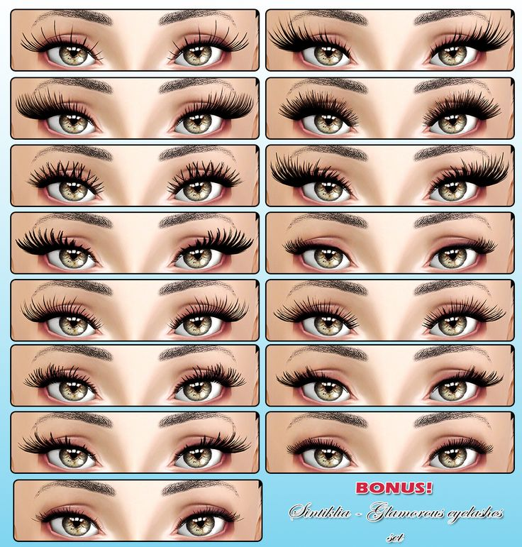 "sintiklia: ""Big set of eyelashes: few collections for Sims 3 by Sintiklia This collection was made in 2013-2014 years, I was lazy to release and make screenshots:P so that will be my ""Good Bye Sims..."
