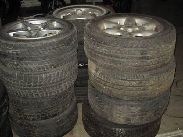 rims with tires Fortera 265 / 50r20 / 1 tire / new Continental 225 x 45 r 17 / 2 tires Firestone P215 70 r 15 x 2 tires Bridgestone 215 / 50 r 17 x2 tires Bridgestone 225 / 65 r 17 x3 tires...