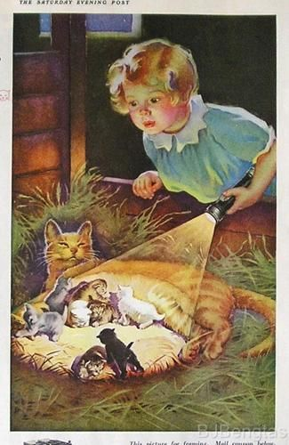 "Cats in Art & Illustration: 1933, Frances Tipton Hunter  ""Nine Lives"" ad for EverReady batteries"