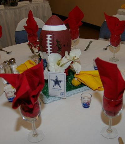 77 best wedding ideas images on pinterest wedding ideas decor simple diy football wedding centerpiece that is a crowd pleaser candy filled penalty flags junglespirit Images