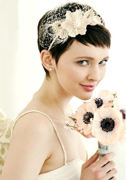 A pixie cut bride