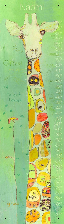 PERSONNALISÉ croître girafe toise de toile par Jennifer Mercede 42 X 12