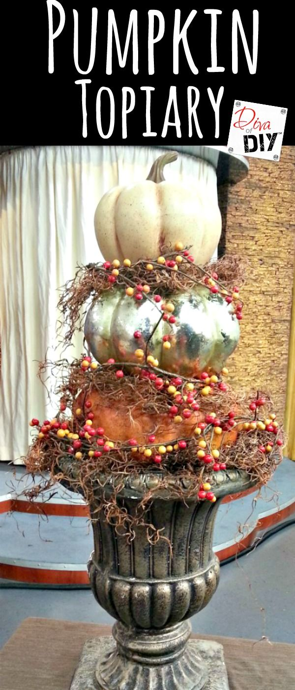 How to make a DIY stacked faux pumpkin topiary from foam pumpkins. There are so…