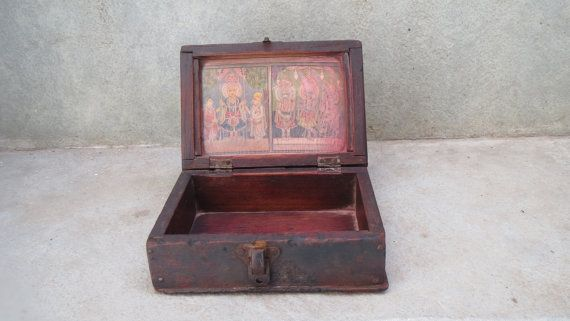Antique vintage wooden cash box with print of Lord by Lallibhai