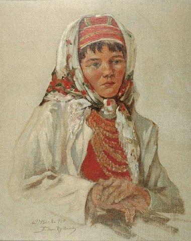 Tadeusz Rybkowski: Portret wieśniaczki olej, płótno naklejone na tekturę; 35 x 28,5 cm, 1910
