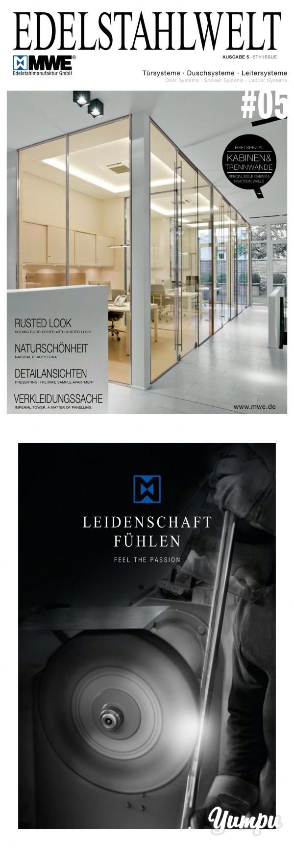 MWE Edelstahlwelt Ausgabe 5 - Aktuelle News aus dem Hause MWE zum Thema Duschsysteme, Türsysteme und Leitersysteme.