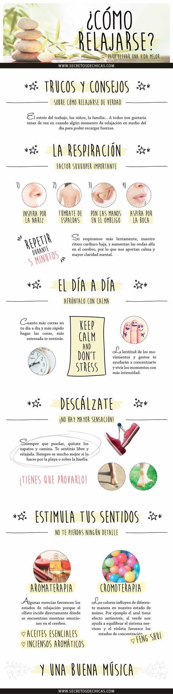El estrés del trabajo, los niños, la familia… a todos nos gustaría tener de vez en cuando algún momento de relajación en medio del día para poder recargar fuerzas. Así que hoy os voy a dar algunos trucos y consejos sobre cómo relajarse de verdad. LA RESPIRACIÓN, FACTOR MUY IMPORTANTE Si respiramos más lentamente, nuestro …: