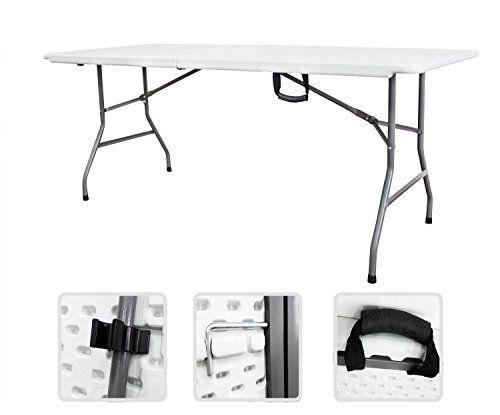 Todeco - Table Pliante Transportable, Table en Plastique Robuste - Matériau: HDPE - Charge maximale: 100 kg - 180 x 76 cm, Blanc, Pliable en deux #Todeco #Table #Pliante #Transportable, #Plastique #Robuste #Matériau: #HDPE #Charge #maximale: #Blanc, #Pliable #deux