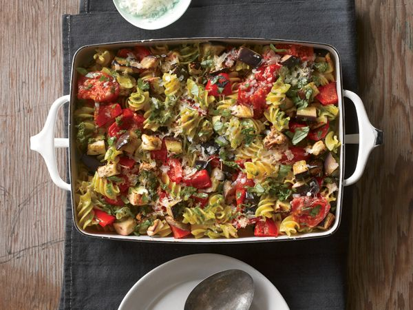 Eggplant and Tomato Pasta Bake- The fiber in whole grain pasta and ...