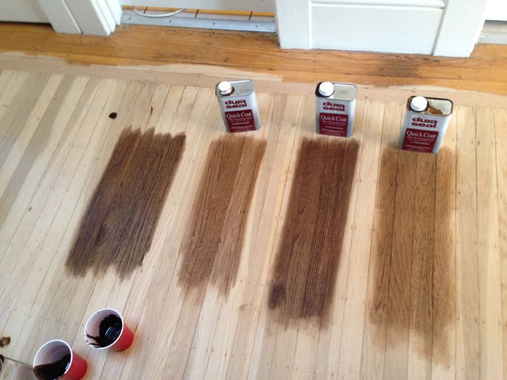 Floor Stain Left To Right all DuraSeal Dark Walnut