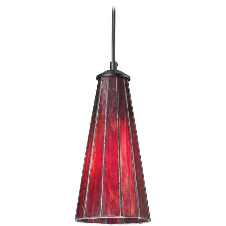 Elk Lighting Mini-Pendant Light with Red Glass 70000-1IR