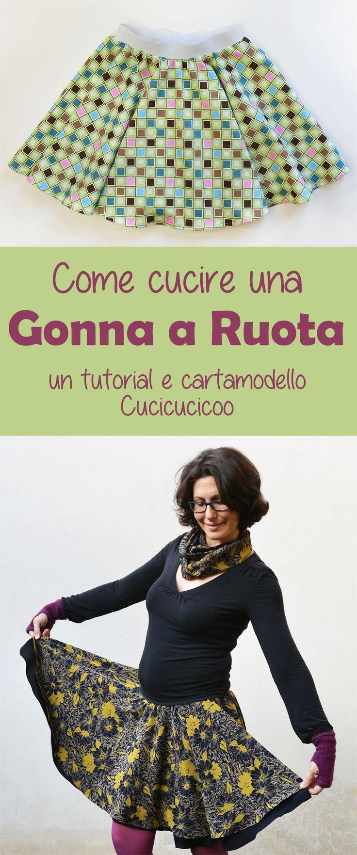 Cartamodello gratuito! Come cucire una gonna a ruota secondo le tue dimensioni, ad uno o due strati, con opzioni di orlo e un accessorio carino abbinato da fare dai ritagli! www.cucicucicoo.com