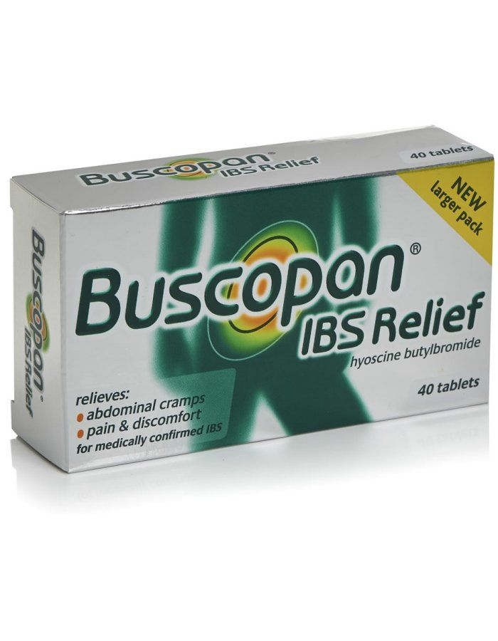 Buscopan Ibs Relief X 40 Tablets Buscopan IBS Relief provides effective relief from the pain of Irritable Bowel Symdrome. It acts on the cause of the pain relaxing the bowel muscles to help stop the spasm itself and relieves the disc http://www.MightGet.com/march-2017-1/buscopan-ibs-relief-x-40-tablets.asp