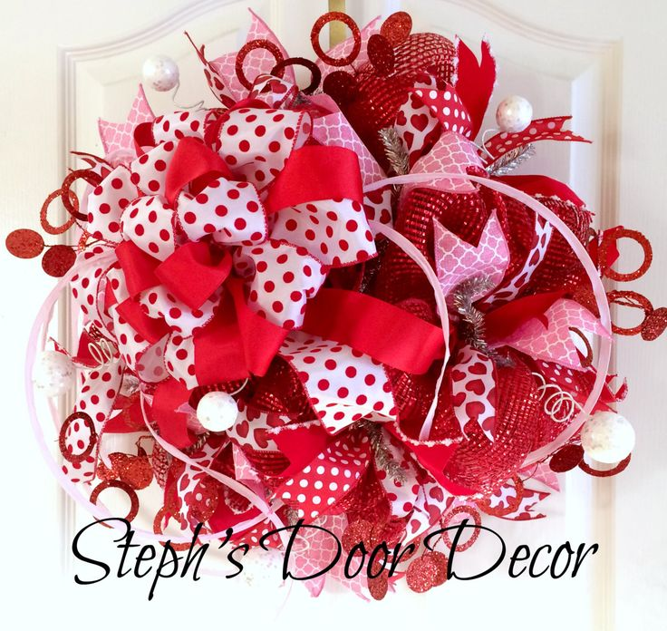 Valentines Day Deco Mesh Wreath - Pink and Red Polka Dot Wreath - Valentines Decoration - Valentines Day Party Decor - Front Door Wreath by StephsDoorDecor on Etsy