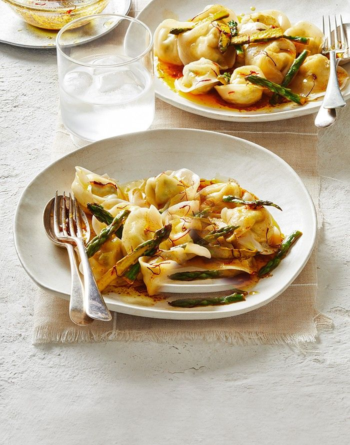 Pea, Ricotta & Asparagus Tortellini with Burnt Saffron Butter