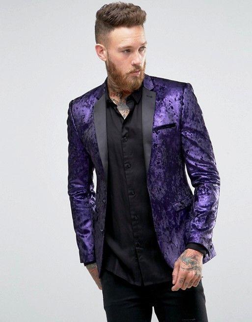 ASOS | ASOS Super Skinny Blazer In Purple Velvet