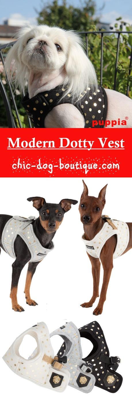 The Puppia Modern Dotty Vest Harness is a jacket style dog harness available in black, melange grey, or ivory with a gold polka dot pattern and Puppia's luxury emblem.�Not only stylish, this harness is made primarily of cotton making it soft and comfortable for pets while walking. To use, have your dog step into the harness and then secure it at the back with the quick-release buckle and Velcro closure.