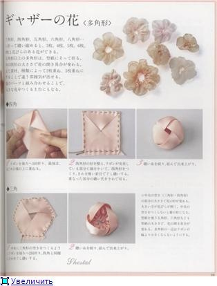 Making ribbon flowers magazine ~ Great source of many ribbon flower parts and various examples of stacking them  together.