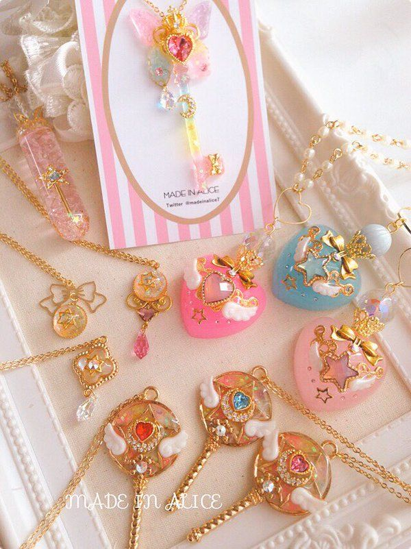 ~magical girl jewellery~ key bow pastel heart wings star moon gold pink blue neck necklace jewellery