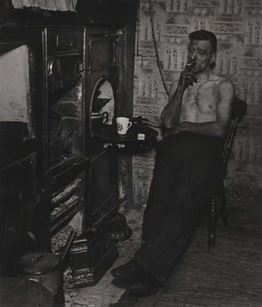"""BILL BRANDT, """"East Durham Coal Miner Just Home from the Pit"""", 1937, silver print, printed ca.1955, 9"""" x 7 3/4"""""""