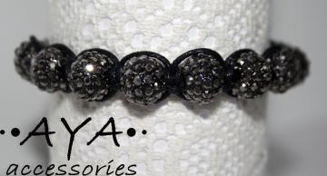 Black Shambala crystal bead bracelet  by AYAJEWELLERY for $18.00