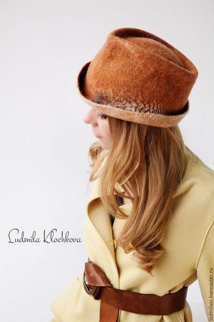 """Felted hat / Шляпы ручной работы. Ярмарка Мастеров - ручная работа. Купить Шляпка из войлока """"Большие планы на сегодня"""". Handmade. Рыжий"""