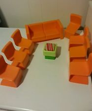Vintage Barbie Dream House Furniture lot from 1970's, Orange Mod Chairs
