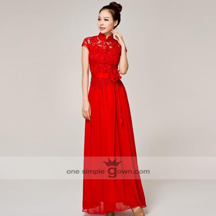 Floor Length Lace Collar Cheong Sam