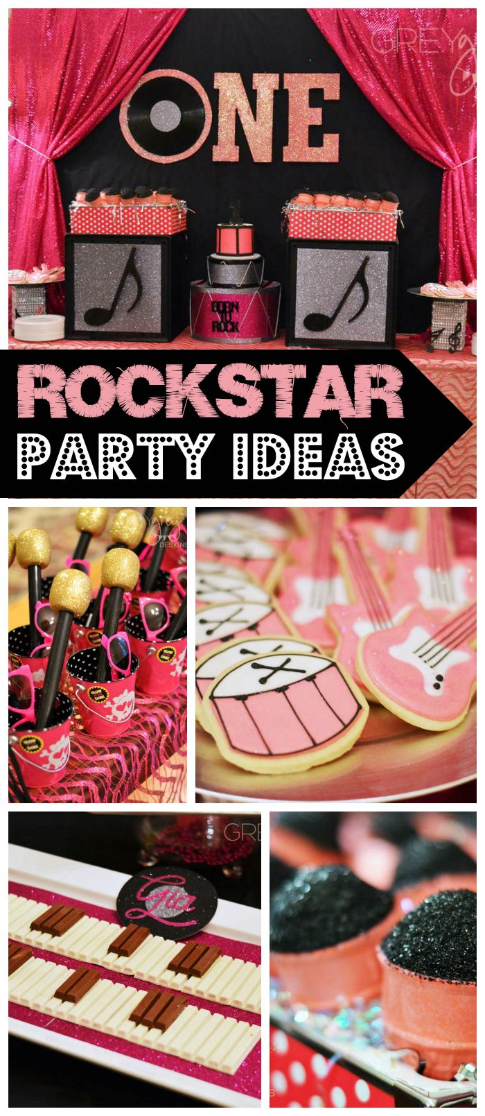 A pink and black rockstar girl birthday party with a candy piano and ice cream microphones! See more party planning ideas at CatchMyParty.com!