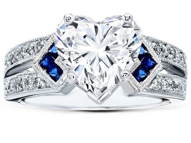 Heart Shape Diamond Engagement Ring Trio Blue Sapphire double diamond band