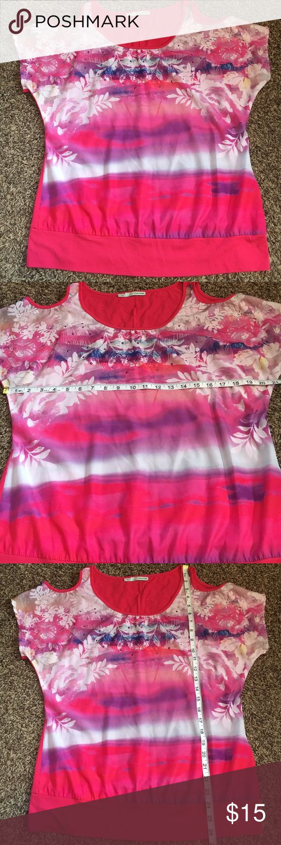 Maurice's open shoulder tee Gently worn, excellent condition, no flaws, smoke free. 🛍Open to reasonable offers ONLY please! I will not consider unreasonable offers that are half the asking price. No trades. No Modeling. And please keep in mind Poshmark sets the $6.49 flat rate shipping. Thank you!☺ Maurices Tops Tees - Short Sleeve