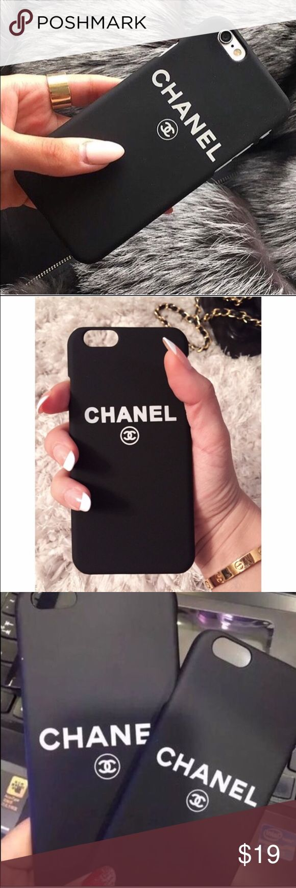 Black Chanel phone case iphone 7 plus Brand new black hard rubber case phone case for iphone 7 plus. Offers welcome No trade Accessories Phone Cases