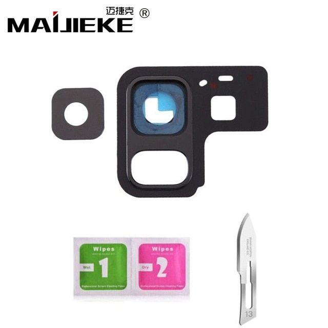 Maijieke Black Rear Back Camera Lens Cover Frame For Samsung Galaxy A8 2018 A530 A8 Plus 2018 A730 Sticker Cleanin Back Camera Cleaning Wipes Camera Lens