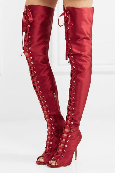 Gianvito Rossi - Lace-up Satin Over-the-knee Boots - Claret - IT36.5