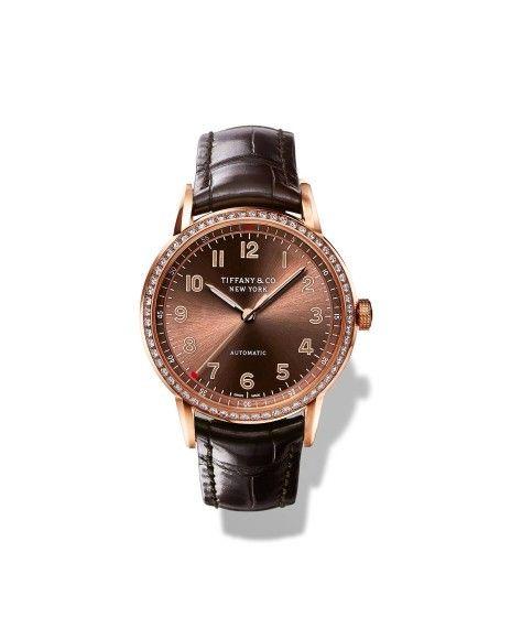 Rosé-Bronze: Modell von Tiffany & Co. aus 18 Karat Roségold mit Diamanten und Lederarmband.